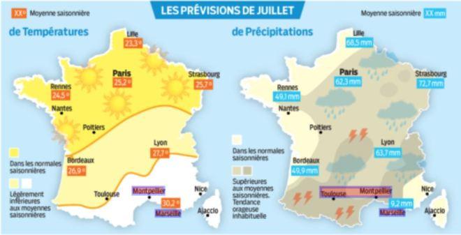 Prévisions météo en France juillet16 carte